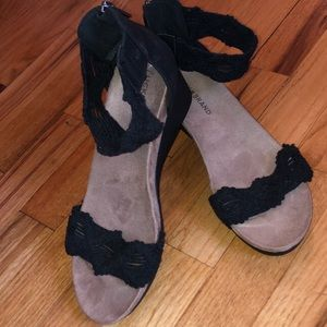 Lucky Brand Black Wedge Sandal